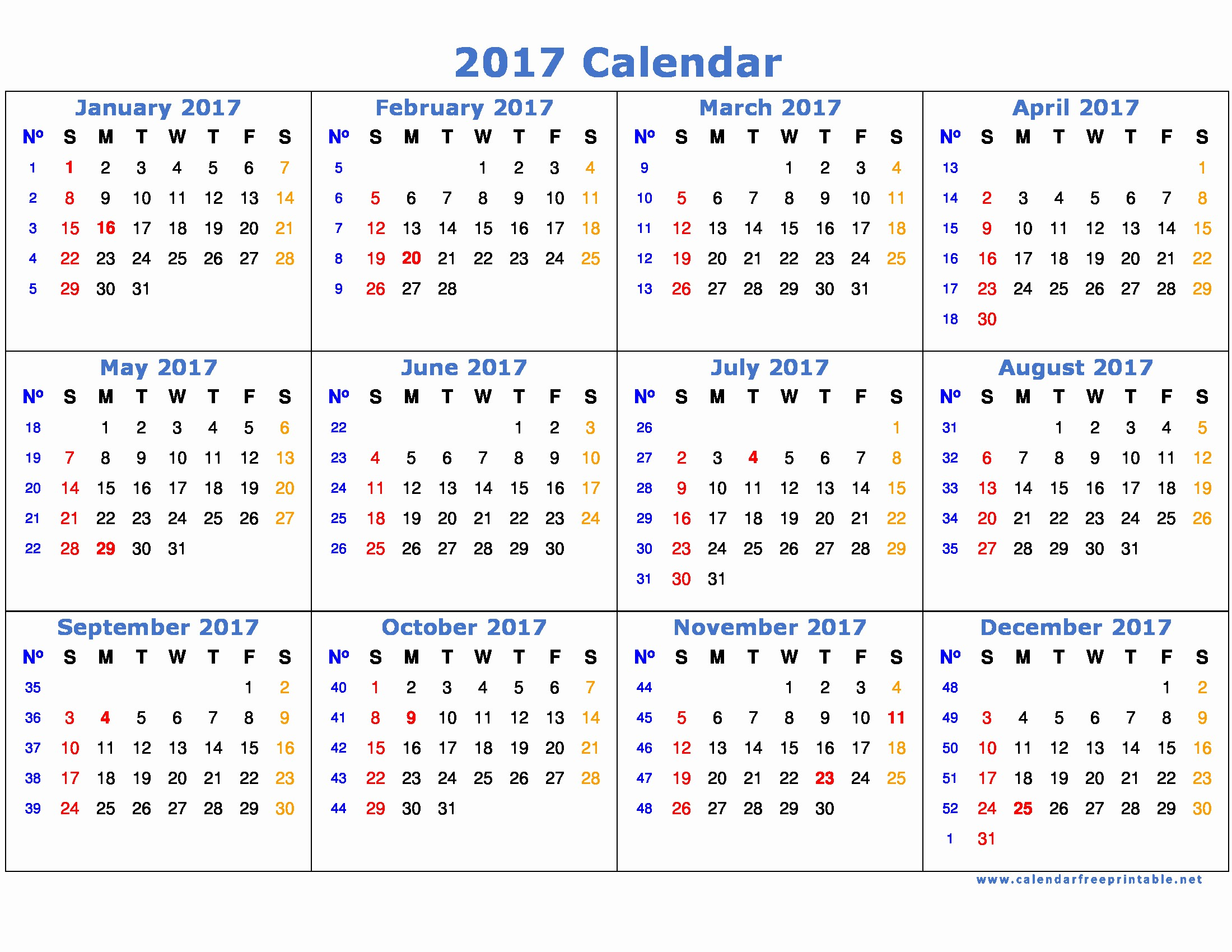 Free Printable Annual Calendar 2017 Beautiful 2017 Calendar Printable