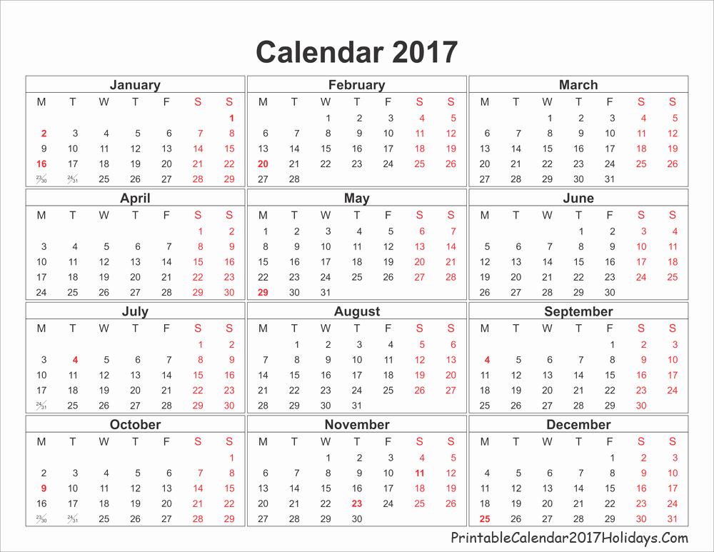 Free Printable Annual Calendar 2017 Best Of Annual Calendar 2017 Printable Calendar Template 2018