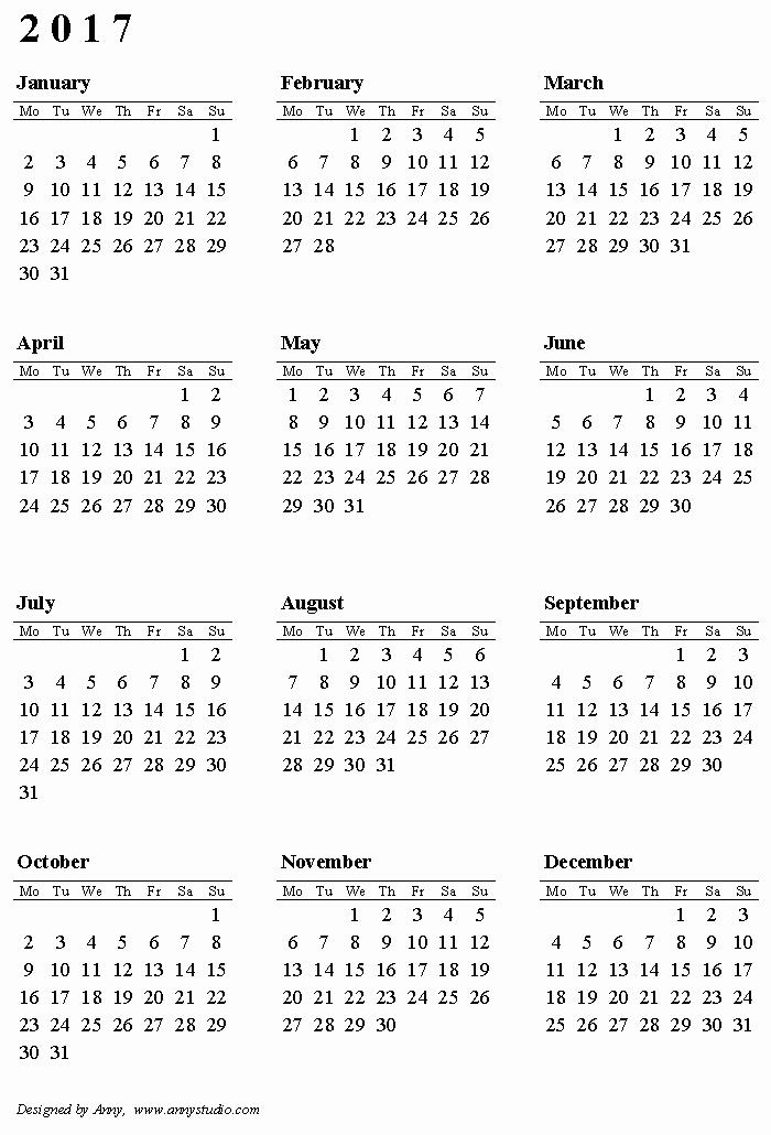 Free Printable Annual Calendar 2017 Elegant Free Printable Calendars and Planners 2019 2020 2021