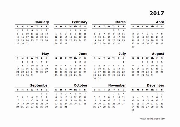 Free Printable Annual Calendar 2017 Fresh 2017 Yearly Calendar Blank Minimal Design Free Printable