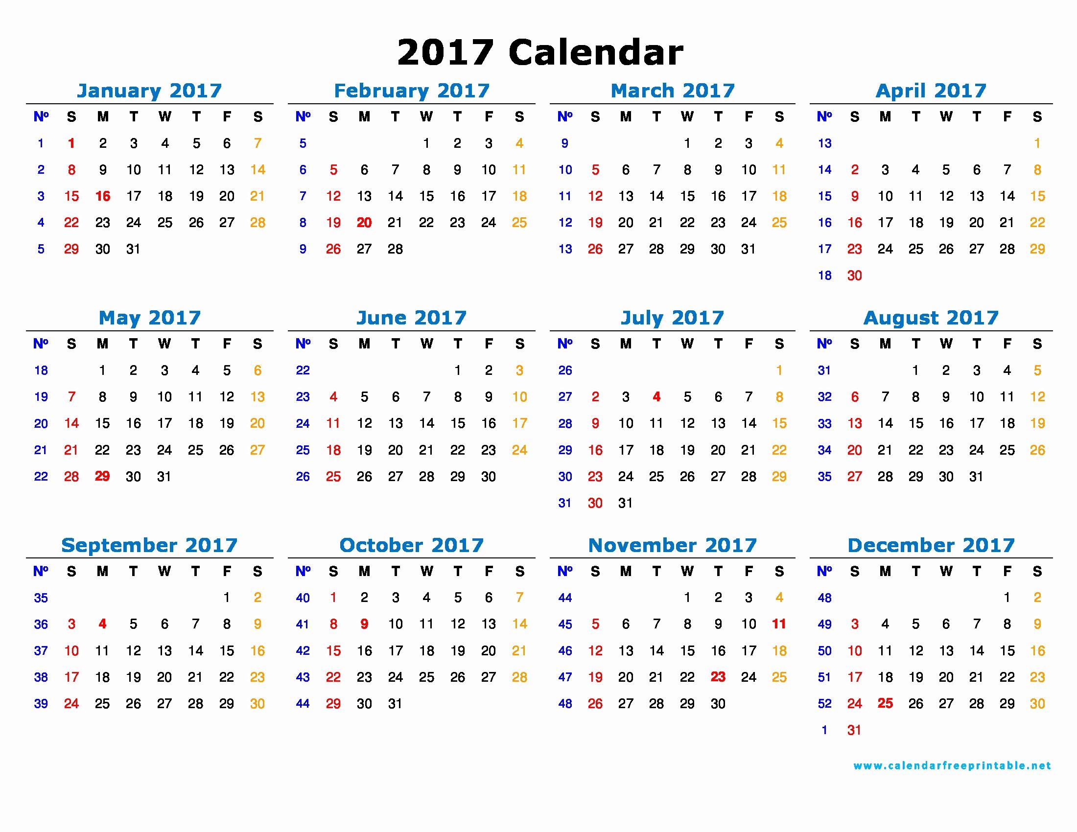 Free Printable Annual Calendar 2017 Inspirational 2017 Calendar Printable