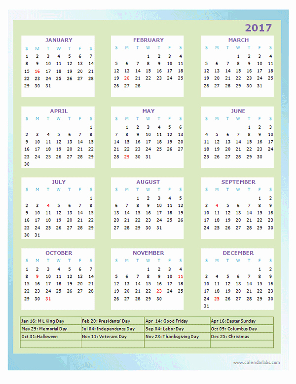 Free Printable Annual Calendar 2017 Luxury 2017 Annual Calendar Design Template Free Printable