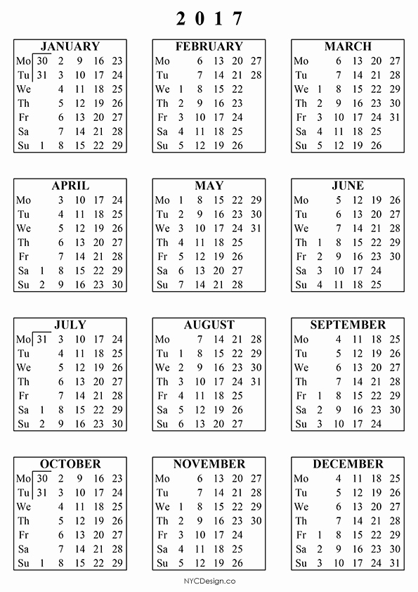 Free Printable Annual Calendar 2017 Luxury New York Web Design Studio New York Ny Free Printable