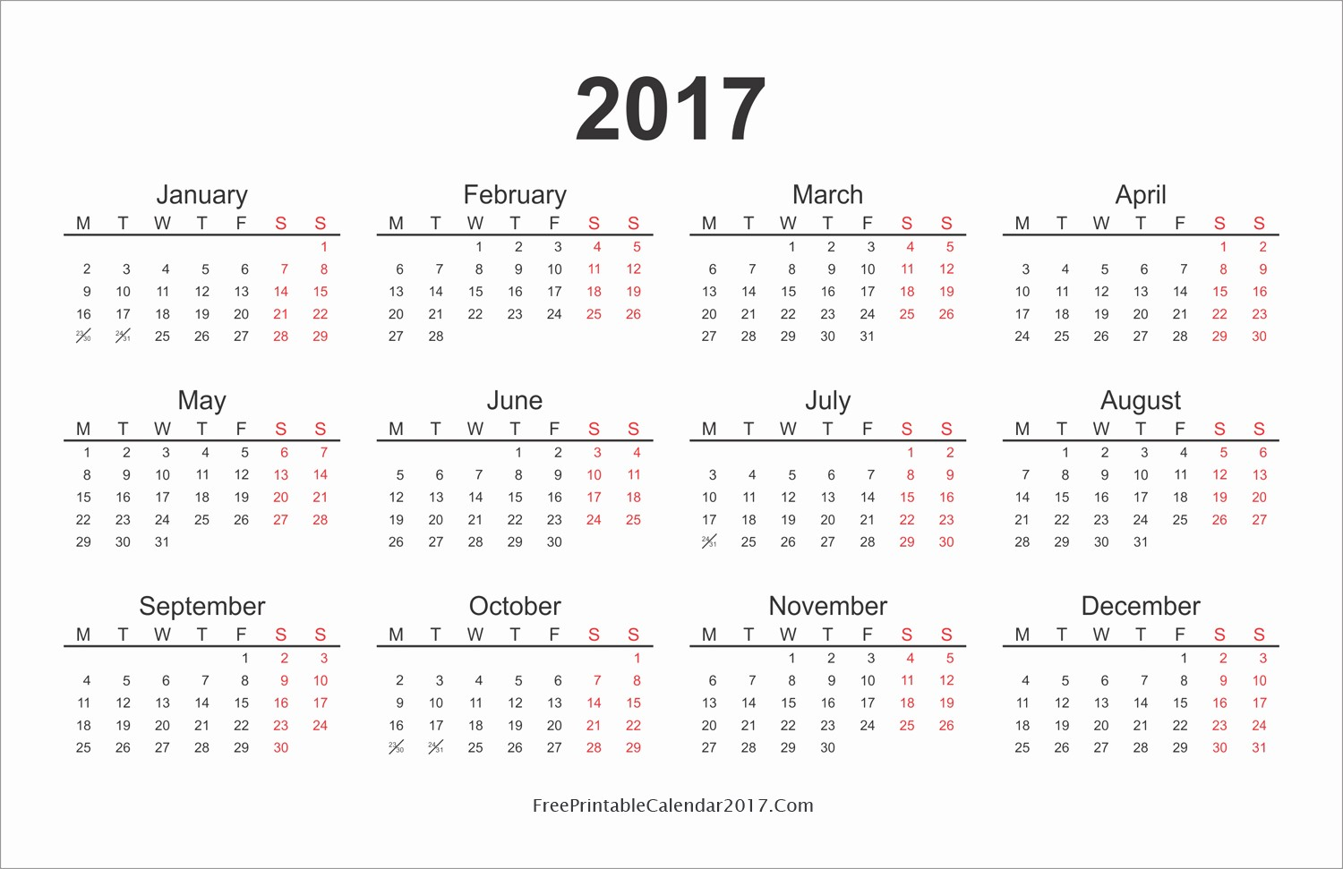 Free Printable Annual Calendar 2017 New Yearly Calendar 2017 Printable – Templates Free Printable