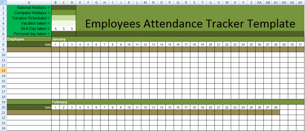 Free Printable attendance Calendar 2016 Elegant attendance Sheet for Employees Excel 2016