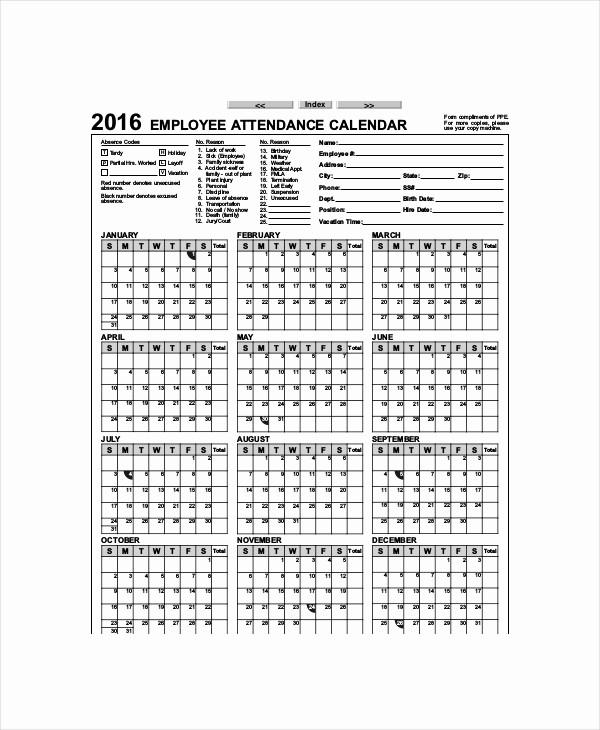 Free Printable attendance Calendar 2016 Fresh Fice Calendar Template 7 Free Word Pdf Documents