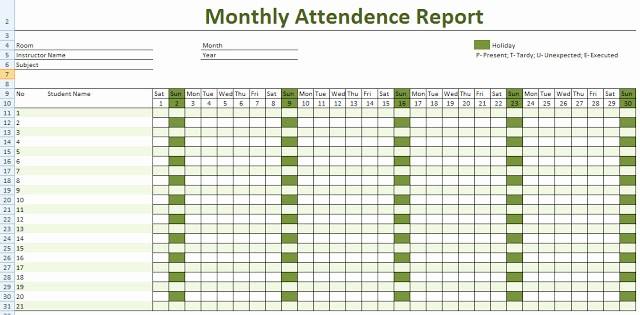 Free Printable attendance Calendar 2016 Inspirational Free Employee attendance Calendar
