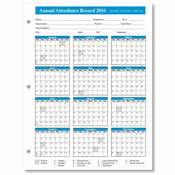 Free Printable attendance Calendar 2016 Lovely 2016 Employee attendance Calendar 3
