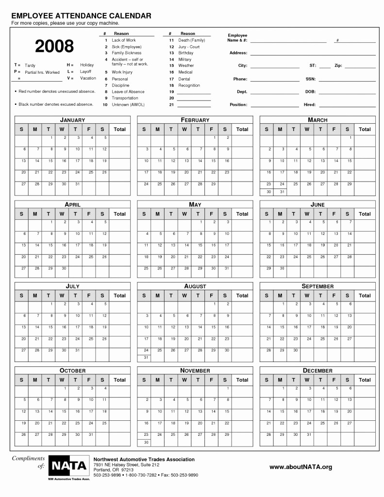 Free Printable attendance Calendar 2016 New Yearly attendance Calendar Yearly attendance Calendars