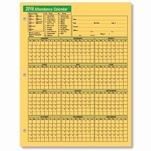 Free Printable attendance Calendar 2016 Unique 2017 attendance Calendar