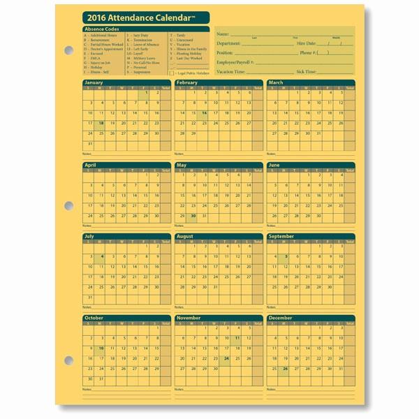 Free Printable attendance Calendar 2016 Unique Employee attendance Calendar