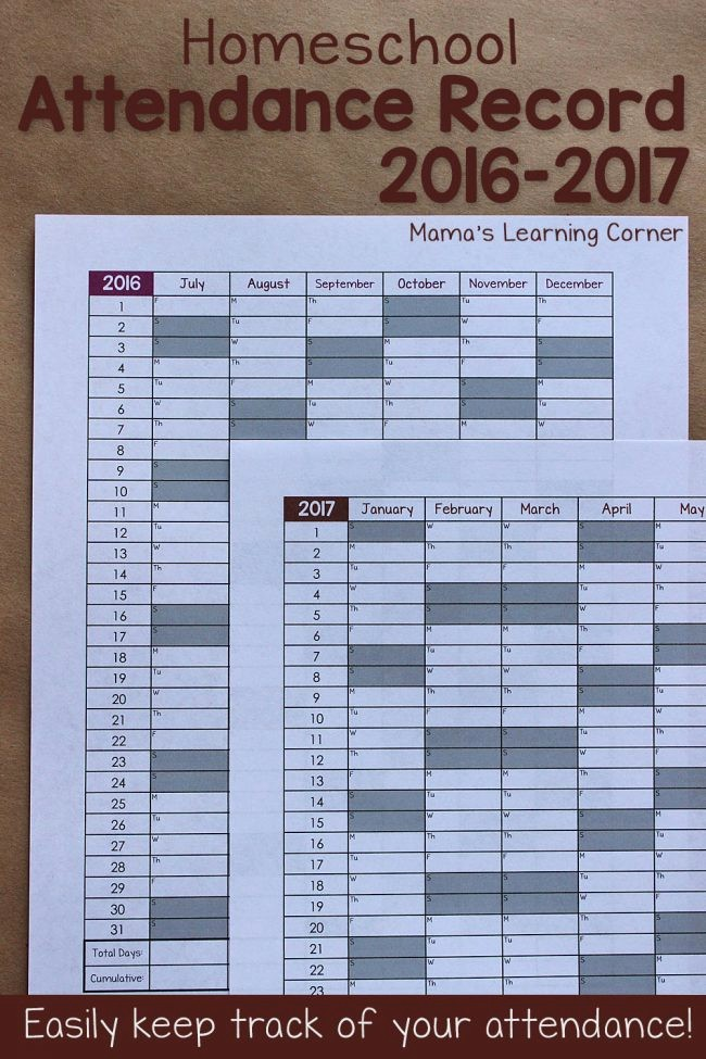 Free Printable attendance Calendar 2016 Unique Simple Homeschool attendance Record 2016 2017 Mamas