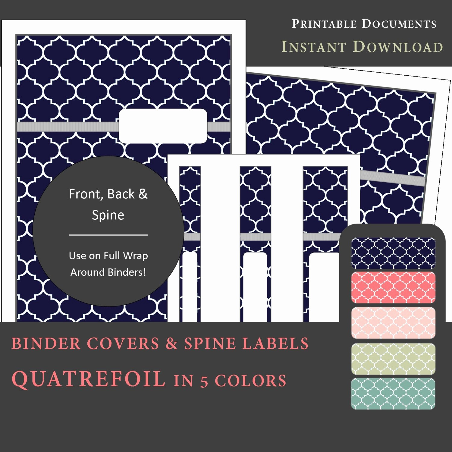 Free Printable Binder Spine Labels Fresh Printable Binder Covers & Spine Label Inserts Quatrefoil