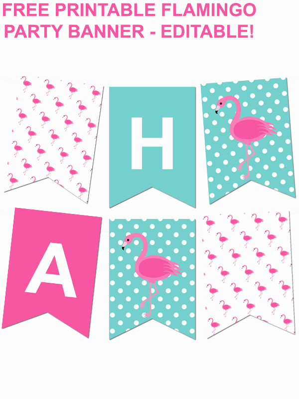 Free Printable Birthday Banner Templates Beautiful Flamingo Polka Dot Pennant Banner Pinterest