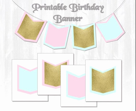 Free Printable Birthday Banner Templates Luxury Glitter Birthday Banner Mint Pink & Gold Printable Banner
