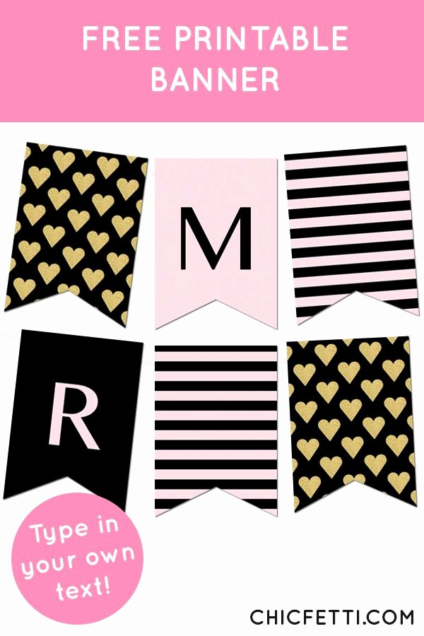 Free Printable Birthday Banner Templates Unique Striped Gold Heart Banner Bbq Ideas