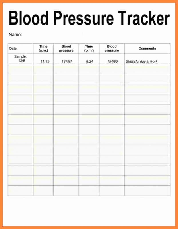 Free Printable Blood Pressure Log Awesome Blood Pressure Recording Charts Template