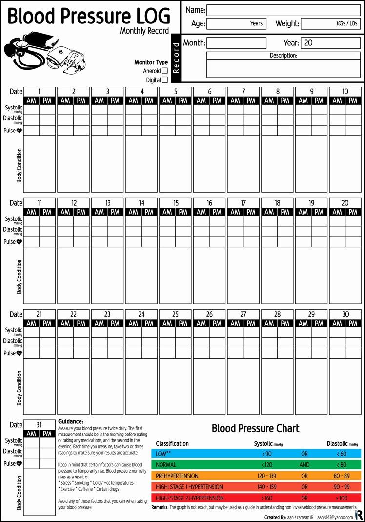 Free Printable Blood Pressure Log Beautiful Blood Pressure Log Monthly Record Pdf Printable by Aanis