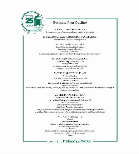 Free Printable Business Plan Template Luxury Business Plan Outline Template 22 Free Sample Example