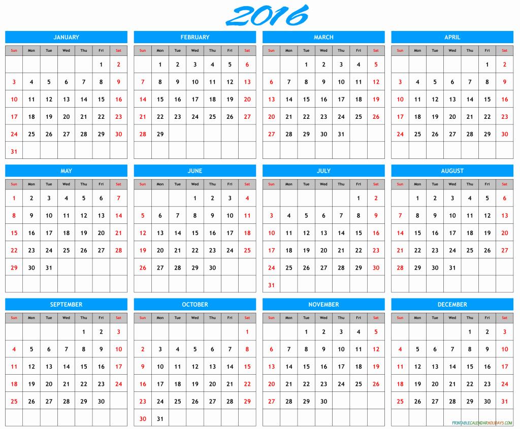 Free Printable Calendar 2016 Template Awesome 2016 Yearly Calendar Template Archives Free Printable