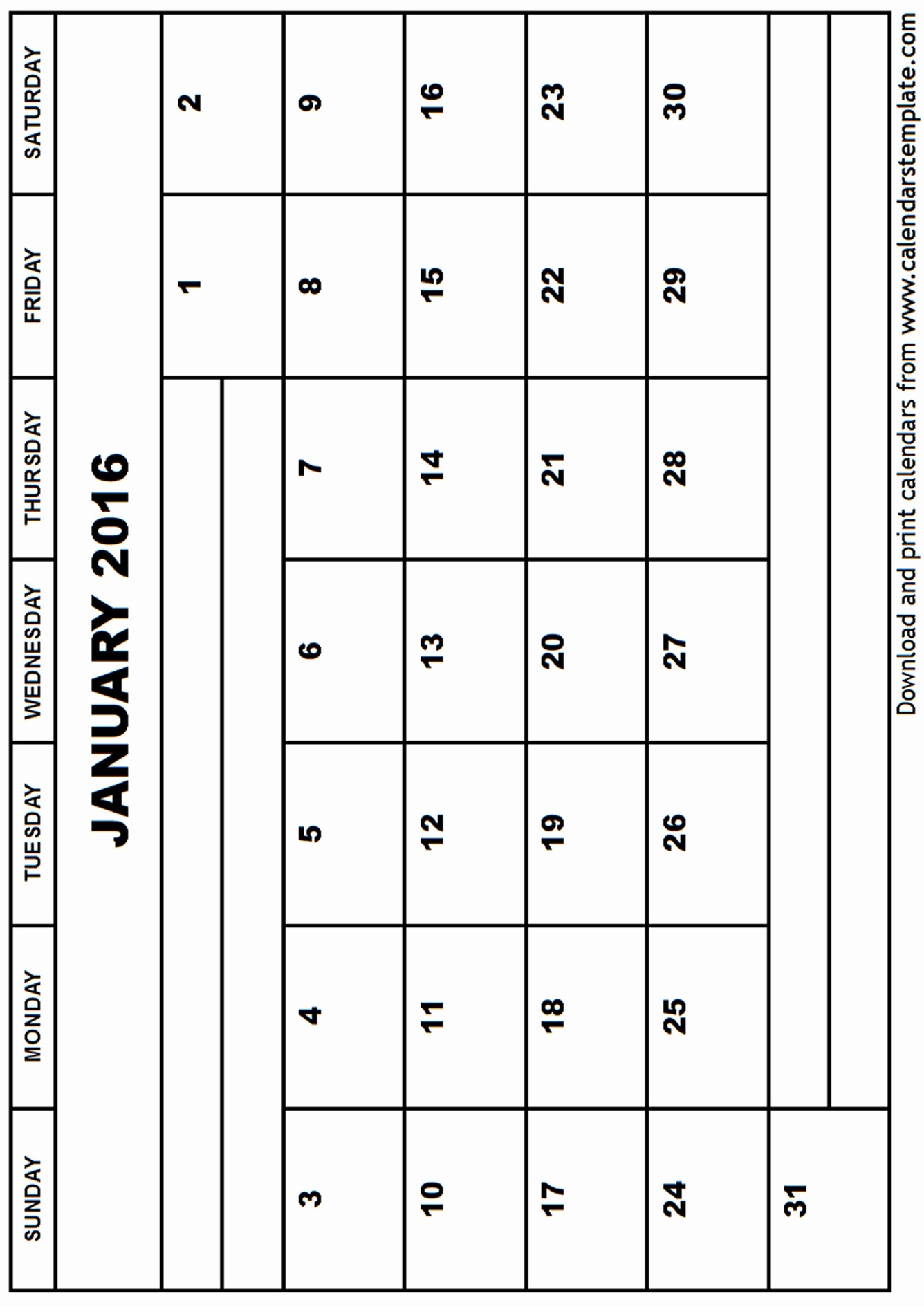 Free Printable Calendar 2016 Template Awesome January 2016 Calendar Template