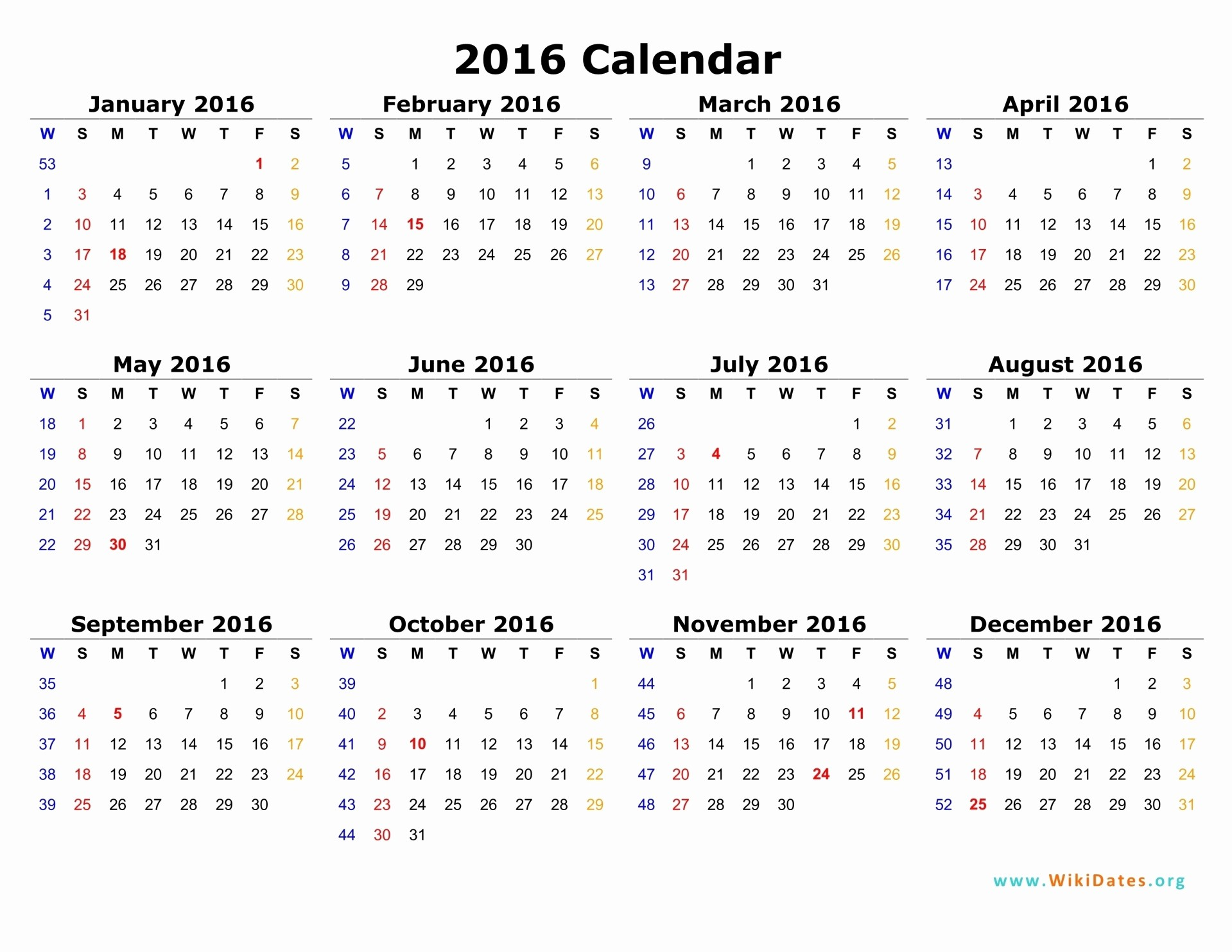 Free Printable Calendar 2016 Template Beautiful 2016 Full Size Monthly Calendar Printables are Here Love