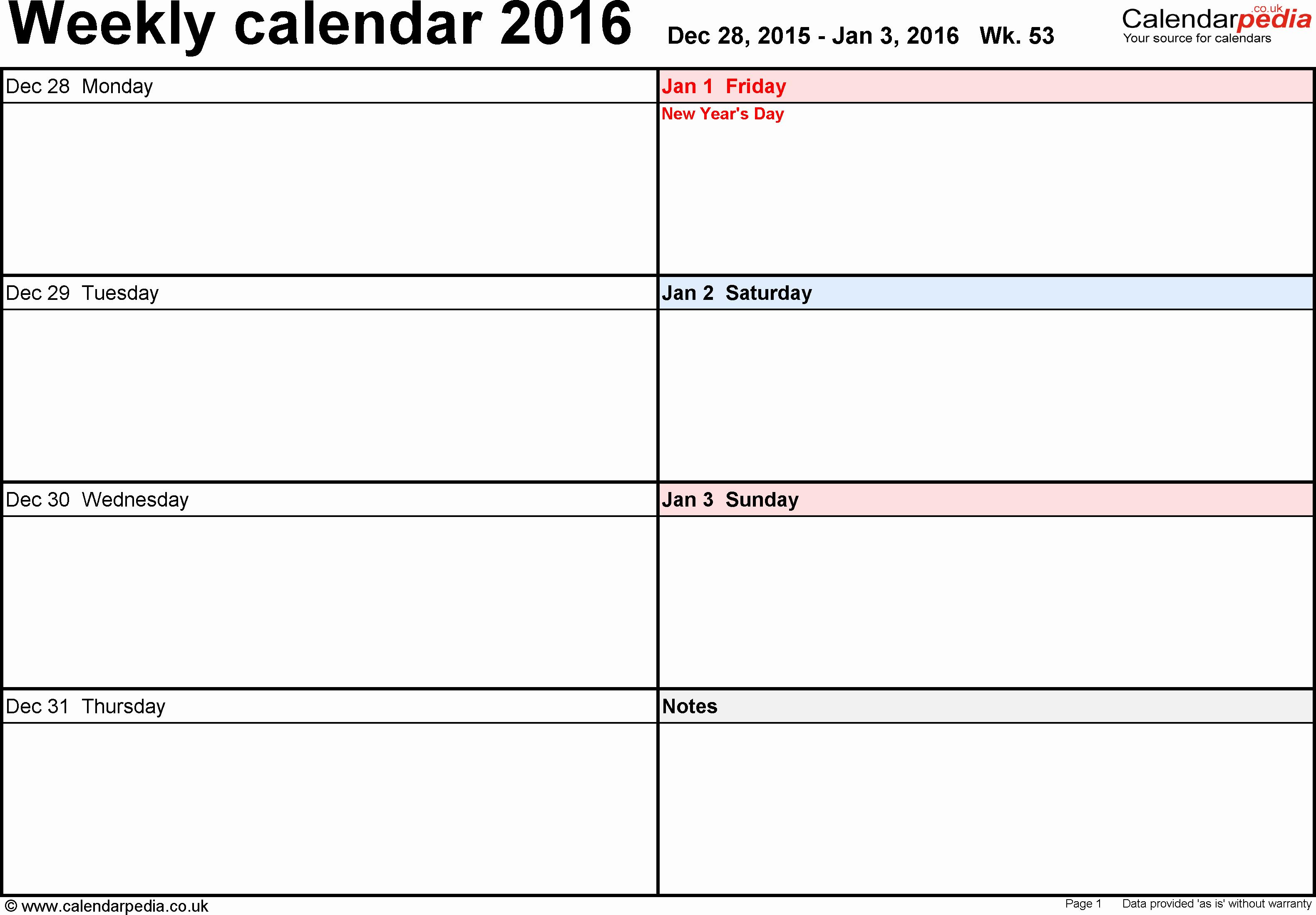 Free Printable Calendar 2016 Template Fresh Weekly Calendar 2016