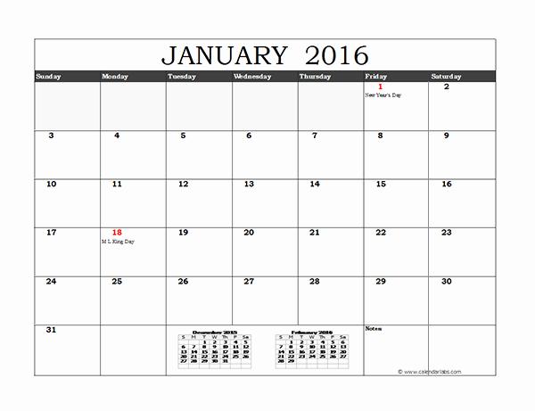 Free Printable Calendar 2016 Template Lovely 2016 Excel Monthly Calendar 02 Free Printable Templates