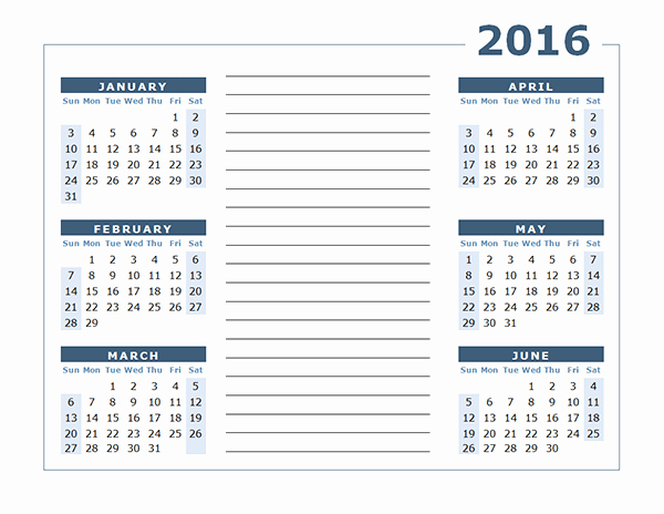 Free Printable Calendar 2016 Template New 2016 Yearly Calendar Two Page Free Printable Templates