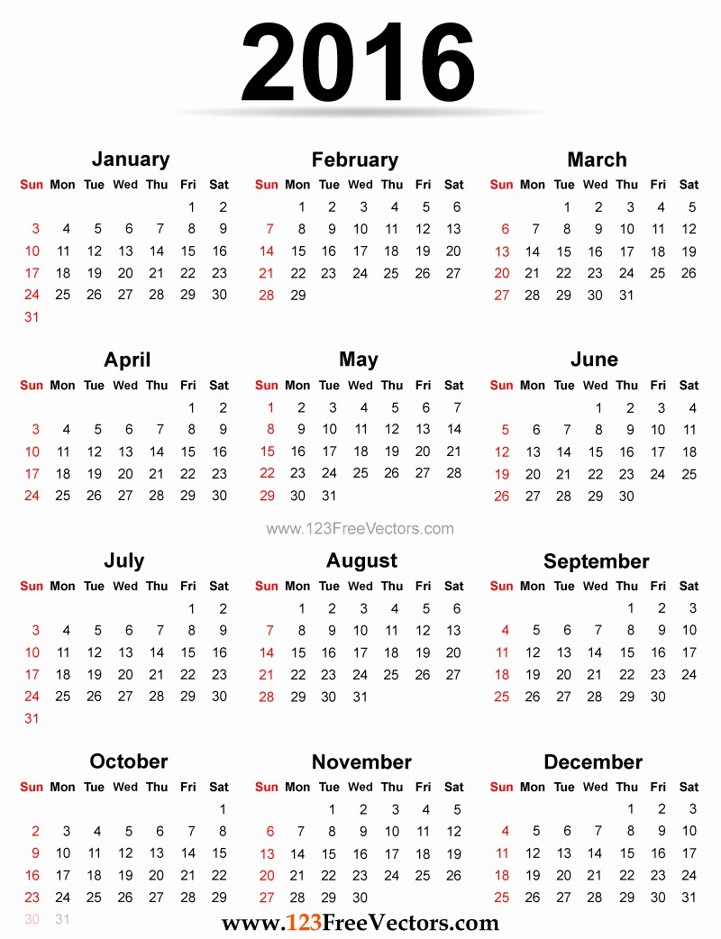 Free Printable Calendar 2016 Template New Yearly Calendar 2016 to Print Hd