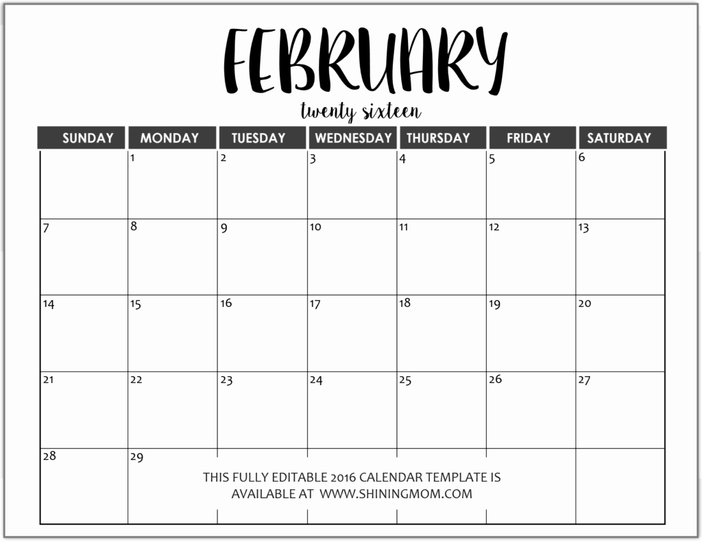 Free Printable Calendar 2016 Templates Awesome Monthly Calendar Templates Free Editable