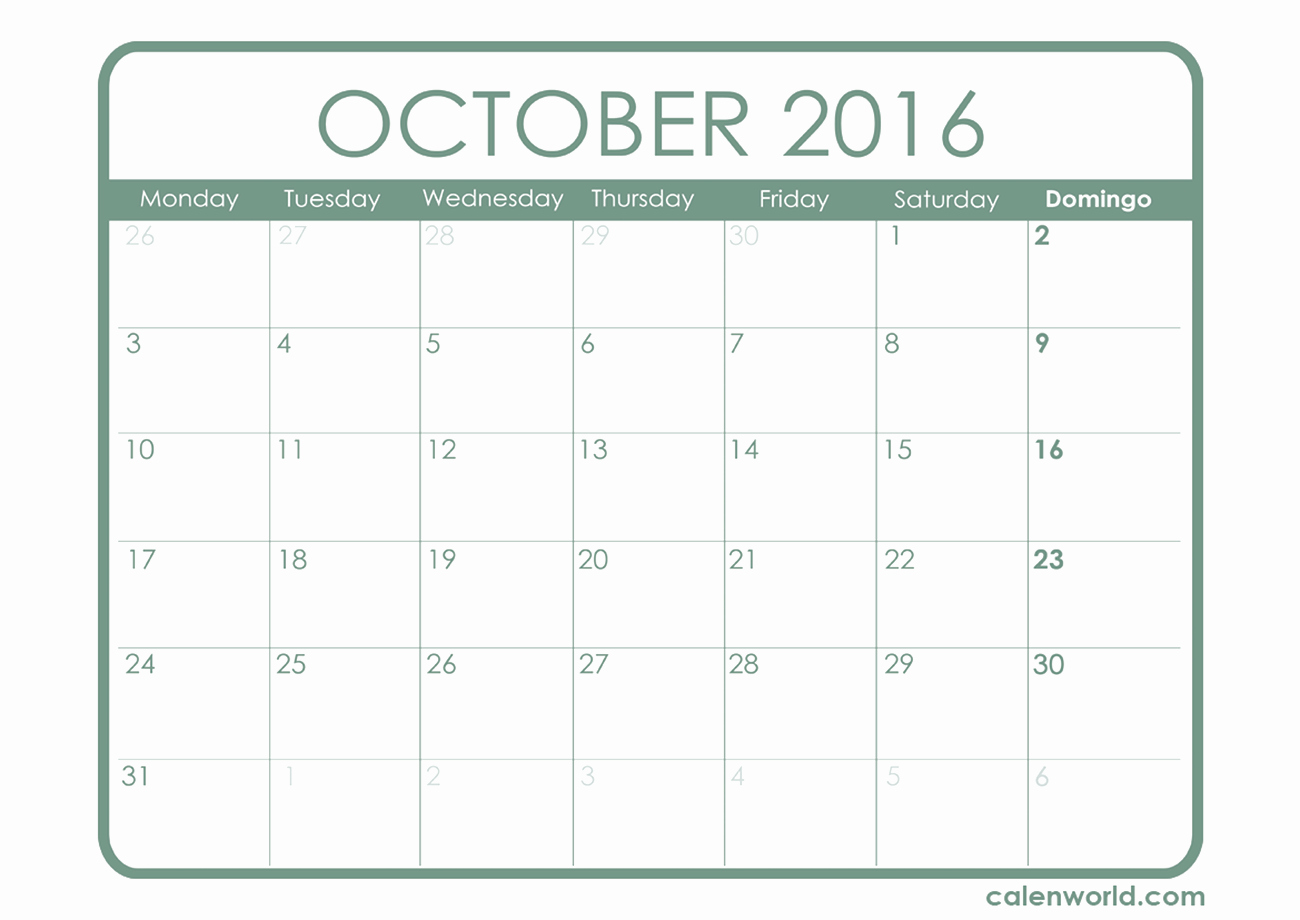 Free Printable Calendar 2016 Templates Awesome October 2016 Calendar Printable Template – 2017 Printable