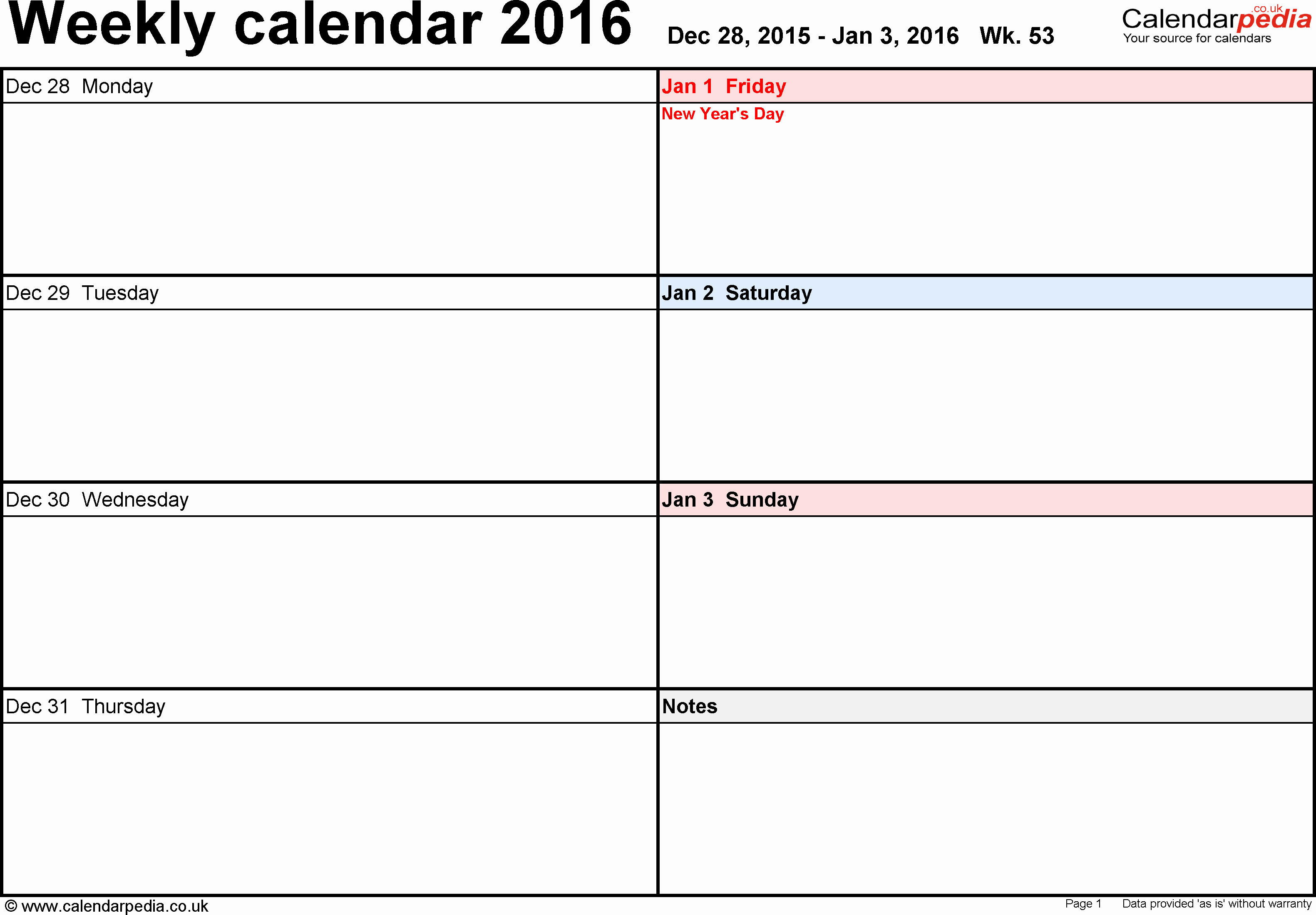 Free Printable Calendar 2016 Templates Beautiful Weekly Calendar 2016