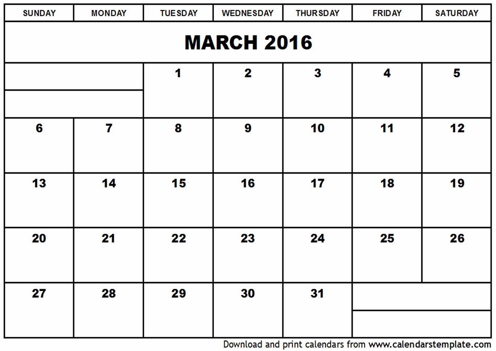 Free Printable Calendar 2016 Templates Best Of March 2016 Calendar Template