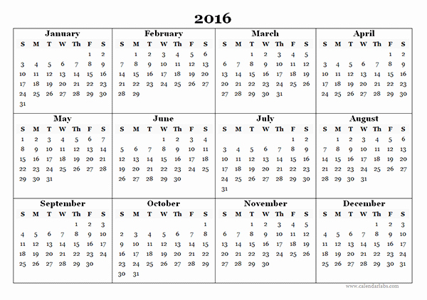 Free Printable Calendar 2016 Templates Elegant 2016 Yearly Calendar Template 07 Free Printable Templates
