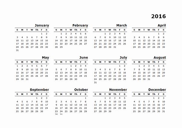 Free Printable Calendar 2016 Templates Inspirational 2016 Yearly Calendar Template 10 Free Printable Templates