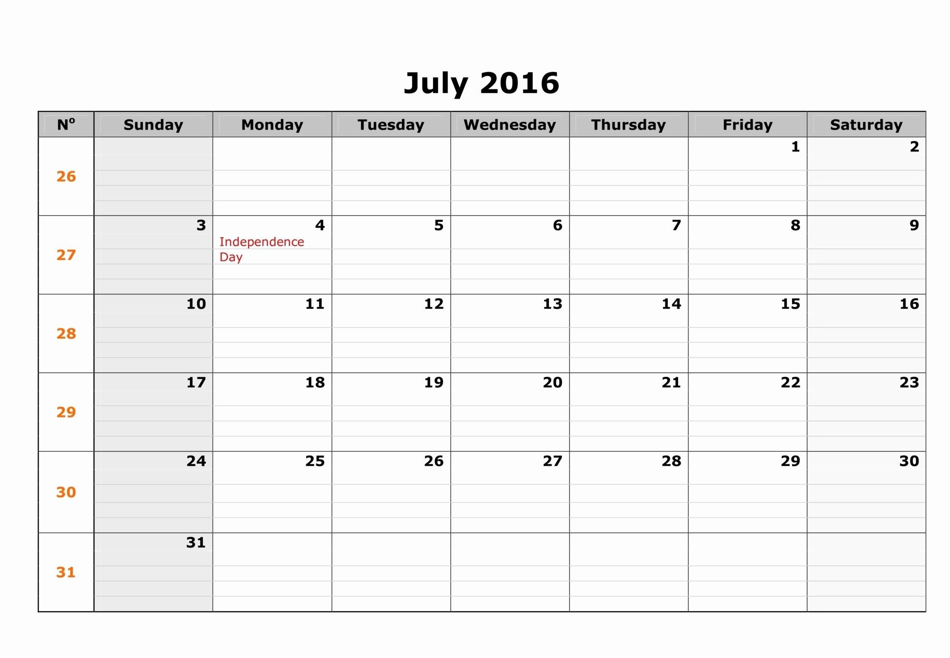 Free Printable Calendar 2016 Templates Luxury July 2016 Weekly Printable Calendar