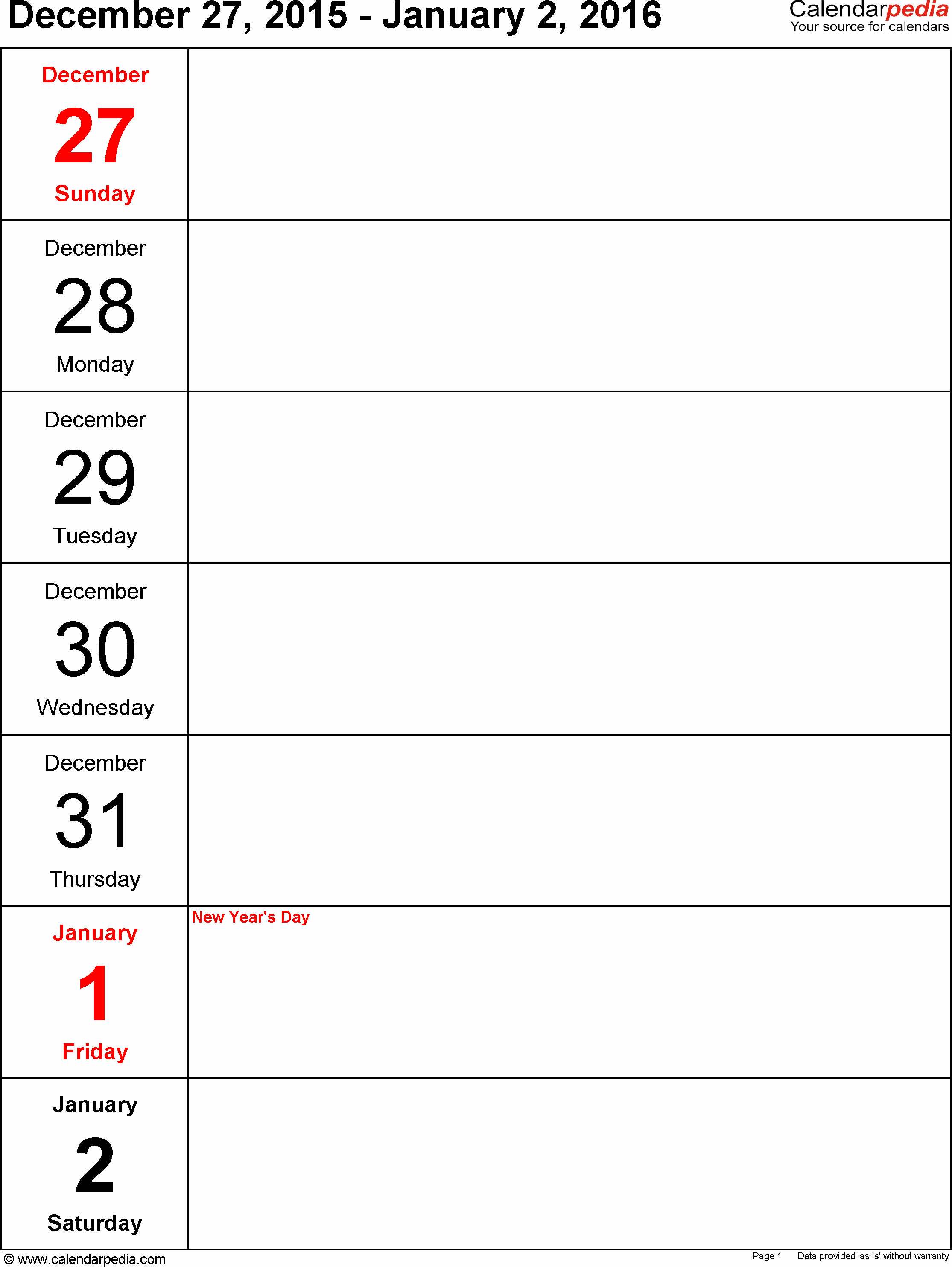 Free Printable Calendar 2016 Templates Luxury Weekly Calendar Line