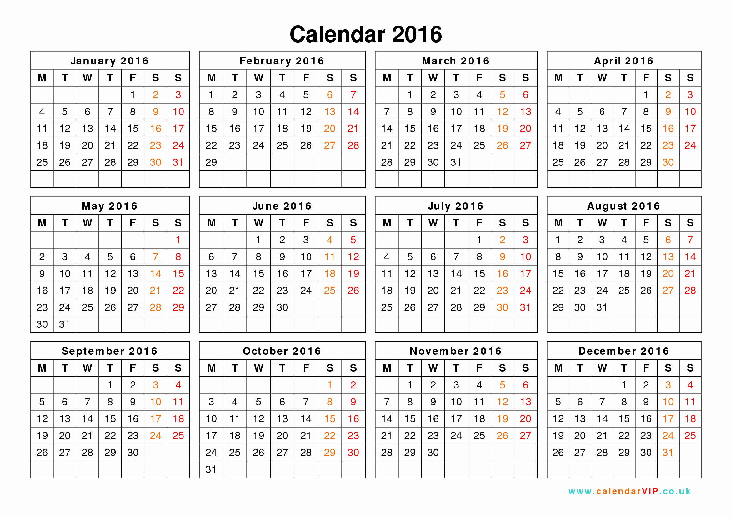 Free Printable Calendar 2016 Templates Unique 2016 Calendar Templates – 2017 Printable Calendar
