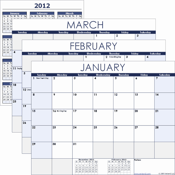 Free Printable Calendar 2016 Templates Unique 2016 Monthly Calendar Printable Excel