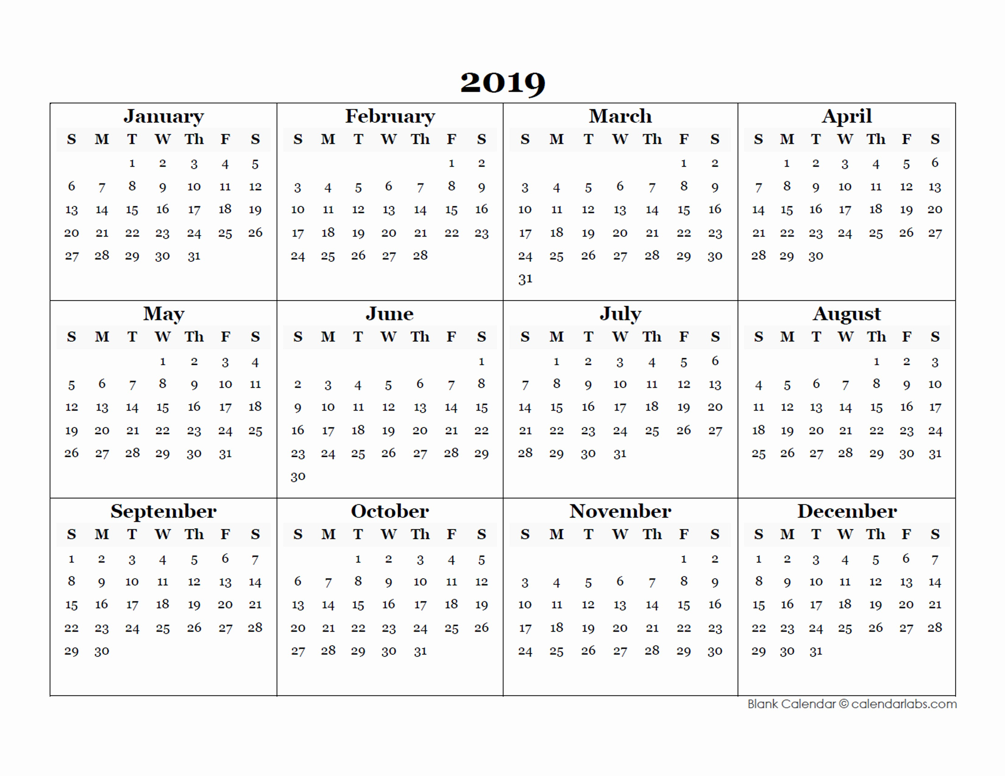 Free Printable Calendar Templates 2019 Awesome 2019 Blank Yearly Calendar Template Free Printable Templates
