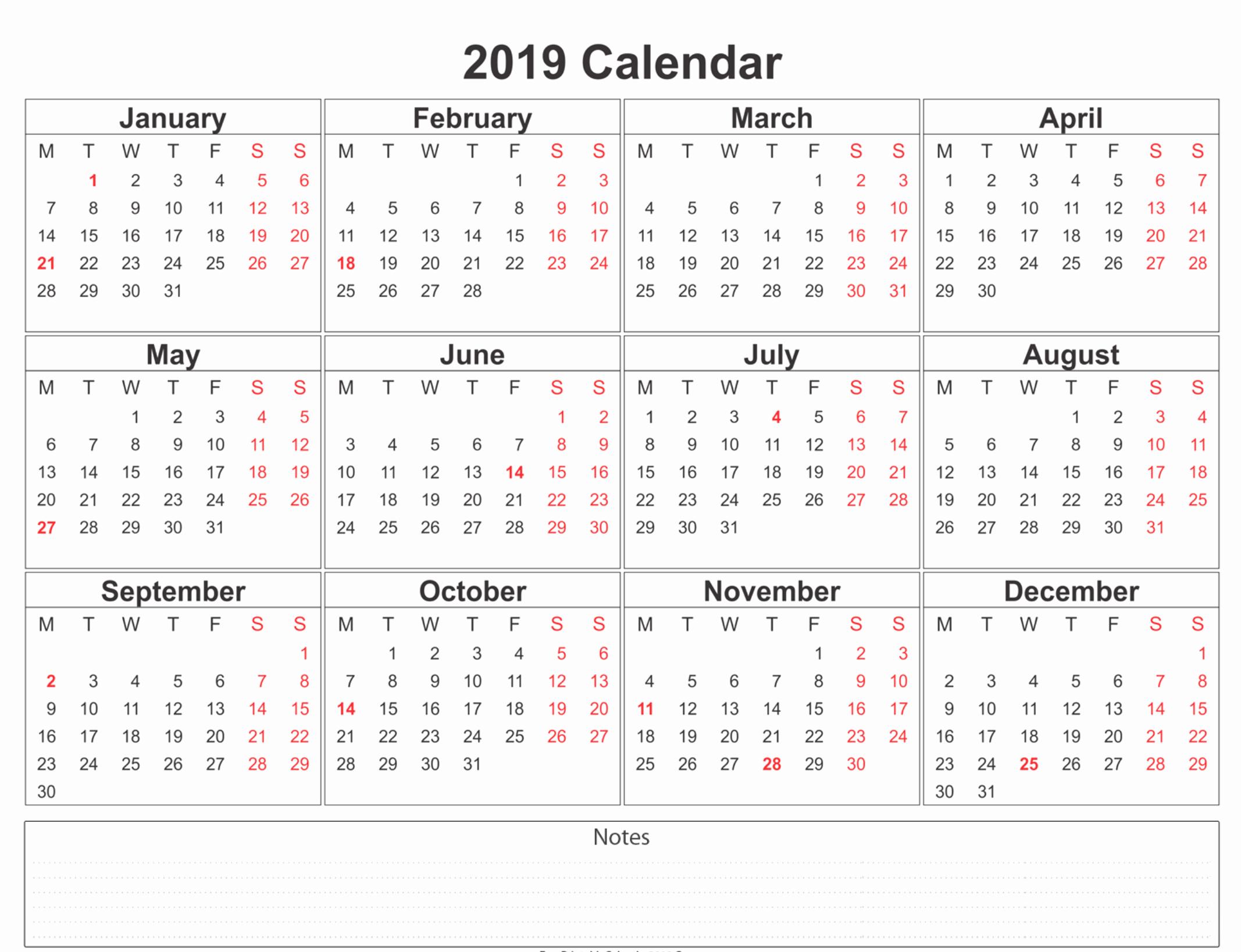 Free Printable Calendar Templates 2019 Awesome 2019 Calendar Amazonaws