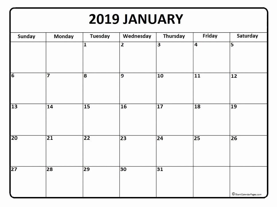 Free Printable Calendar Templates 2019 Beautiful January Calendar Printable January Calendar 2019