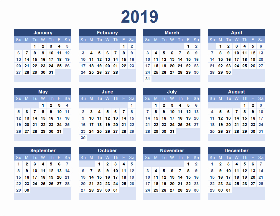 Free Printable Calendar Templates 2019 Elegant 2019 Calendar Template Excel