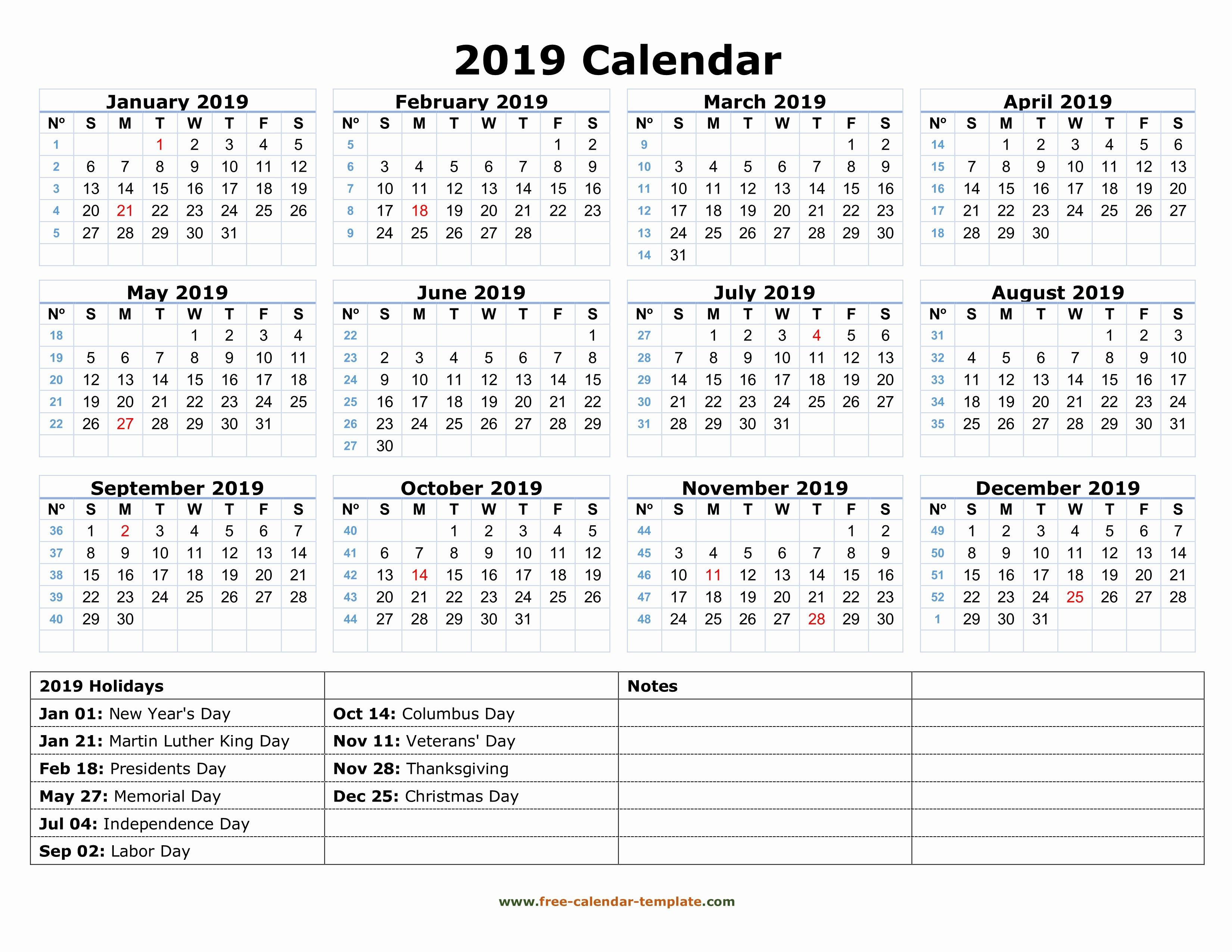 Free Printable Calendar Templates 2019 Elegant Printable Yearly Calendar 2019