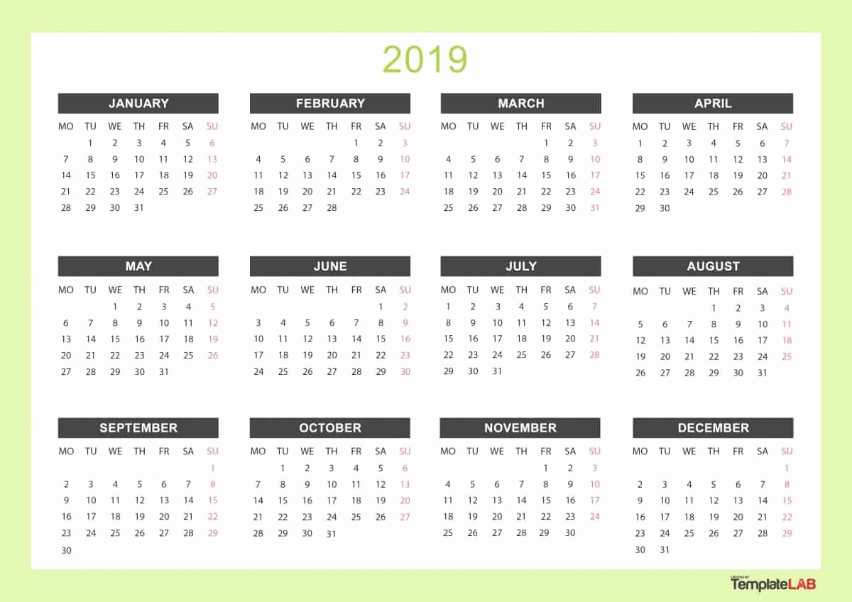 Free Printable Calendar Templates 2019 Fresh 2019 Printable Calendars [monthly with Holidays Yearly