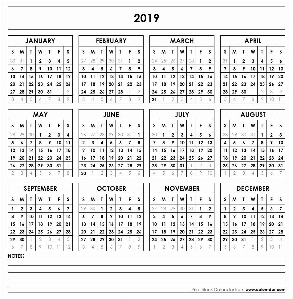 Free Printable Calendar Templates 2019 Fresh Blank 2019 Calendar