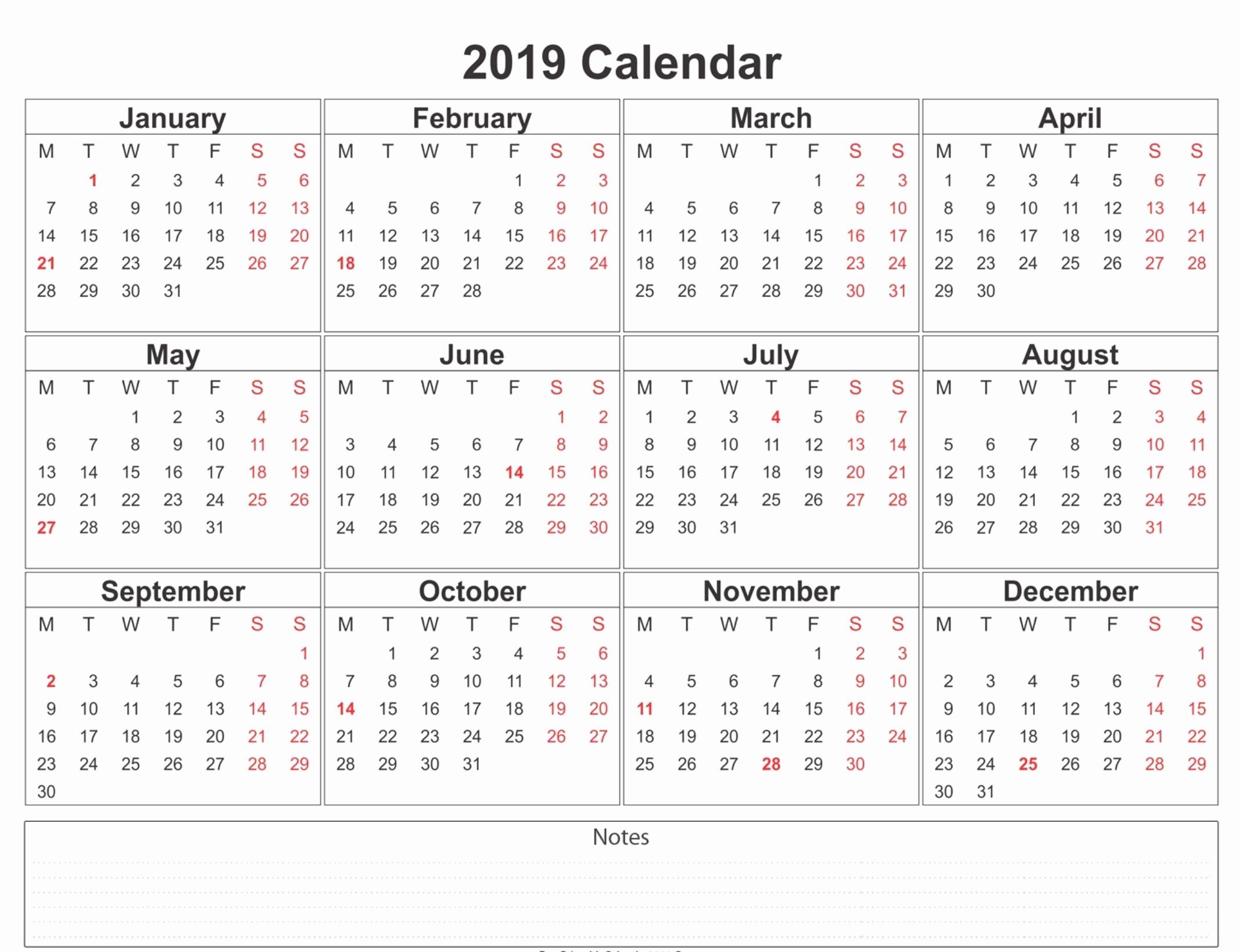 Free Printable Calendar Templates 2019 Inspirational 2019 Weekly Calendar Printable Calendar2019