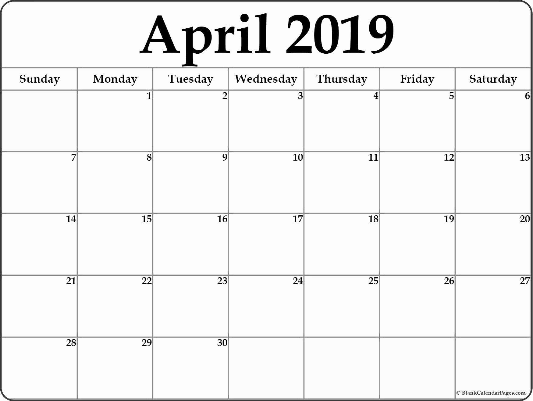 Free Printable Calendar Templates 2019 Lovely April 2019 Blank Calendar Templates