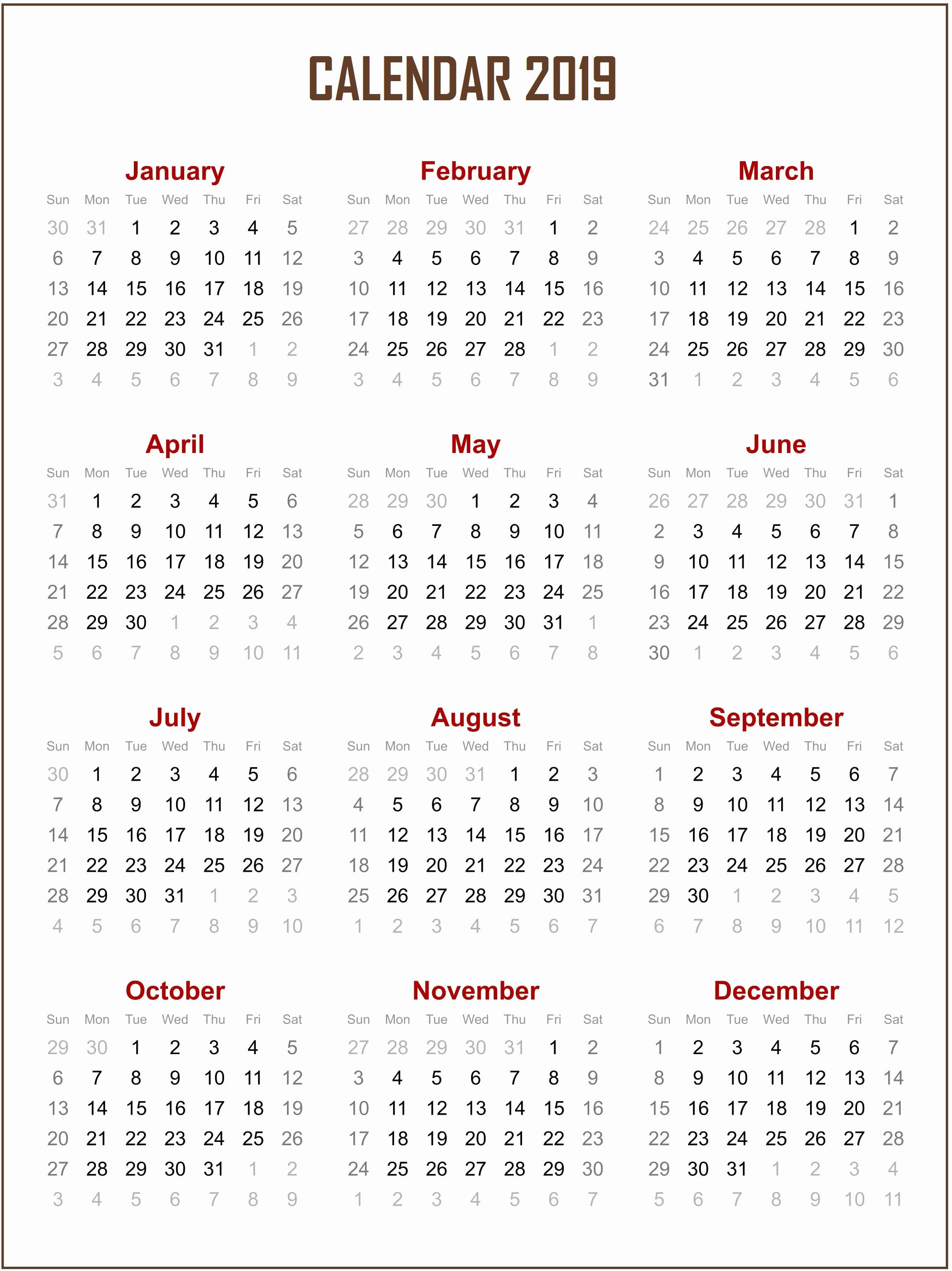 Free Printable Calendar Templates 2019 Lovely Free Printable 2019 Calendar Template – Free Calendar